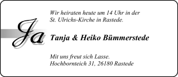 Hochzeitsanzeige von Heiko Bümmerstede von Nordwest-Zeitung