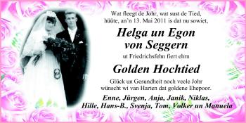 Hochzeitsanzeige von Helga von Seggern von Nordwest-Zeitung