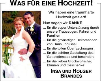Hochzeitsanzeige von Insa Brandes von Nordwest-Zeitung