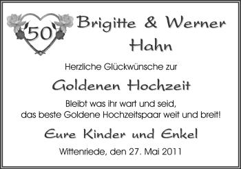 Hochzeitsanzeige von Brigitte Hahn von Nordwest-Zeitung