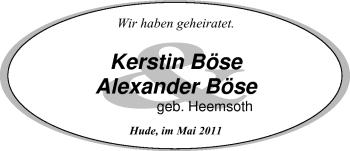 Hochzeitsanzeige von Kerstin Bösel von Nordwest-Zeitung