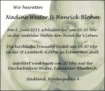 Hochzeitsanzeige von Nadine Wester von Nordwest-Zeitung