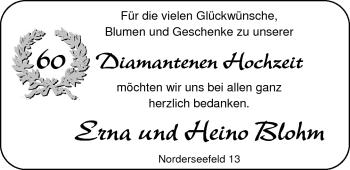Hochzeitsanzeige von Erna Blohm von Nordwest-Zeitung