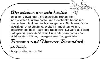 Hochzeitsanzeige von Ramona Bernsdorf von Nordwest-Zeitung