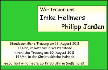 Hochzeitsanzeige von Imke Hellmers von Nordwest-Zeitung