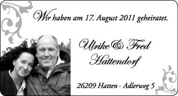 Hochzeitsanzeige von Ulrike Hattendorf von Nordwest-Zeitung