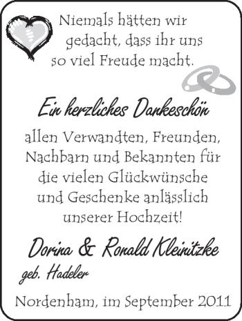 Hochzeitsanzeige von Dorina Kleinitzke von Nordwest-Zeitung