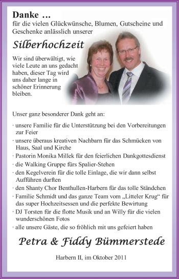 Hochzeitsanzeige von Petra Bümmerstede von Nordwest-Zeitung