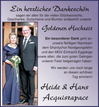 Hochzeitsanzeige von Heide Acquistapace von Nordwest-Zeitung