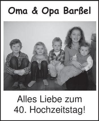 Hochzeitsanzeige von Oma Barßel von Nordwest-Zeitung