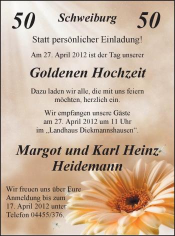 Hochzeitsanzeige von Margot Heidemann von Nordwest-Zeitung