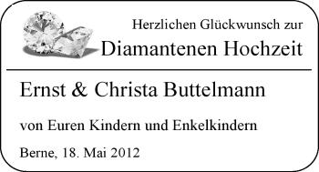 Hochzeitsanzeige von Ernst Buttelmann von Nordwest-Zeitung
