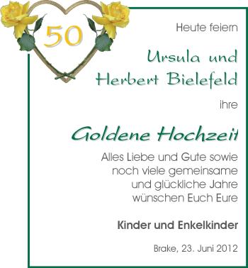 Hochzeitsanzeige von Ursula Bielefeld von Nordwest-Zeitung