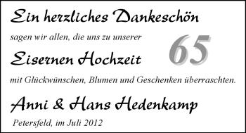 Hochzeitsanzeige von Anni Hedenkamp von Nordwest-Zeitung