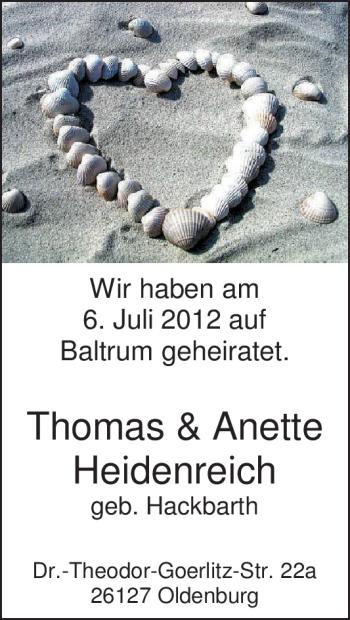 Hochzeitsanzeige von Anette Heidenreich von Nordwest-Zeitung