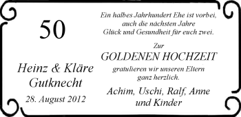 Hochzeitsanzeige von Käthe Gutknecht von Nordwest-Zeitung