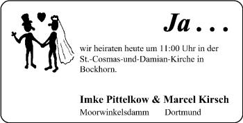 Hochzeitsanzeige von Imke  von Nordwest-Zeitung