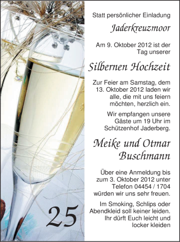 Hochzeitsanzeige von Meike Buschmann von Nordwest-Zeitung