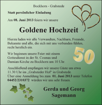 Hochzeitsanzeige von Gerda Sagemann von Nordwest-Zeitung
