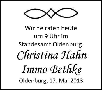 Hochzeitsanzeige von Bethke Immo von Nordwest-Zeitung