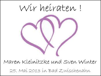 Hochzeitsanzeige von Maren Kleinnitzke von Nordwest-Zeitung