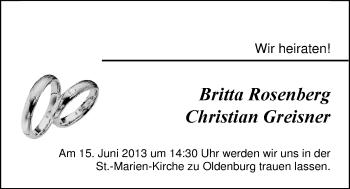 Hochzeitsanzeige von Britta Rosenberg von Nordwest-Zeitung