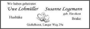 Hochzeitsanzeige von Susanne Logemann von Nordwest-Zeitung