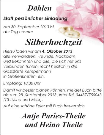 Hochzeitsanzeige von Antje Paries-Theile von Nordwest-Zeitung