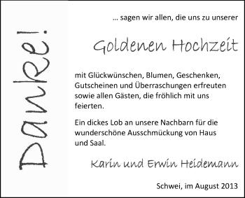 Hochzeitsanzeige von Karin Heidemann von Nordwest-Zeitung