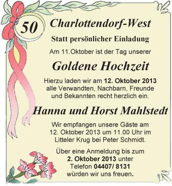 Hochzeitsanzeige von Hanna Mahlstedt von Nordwest-Zeitung