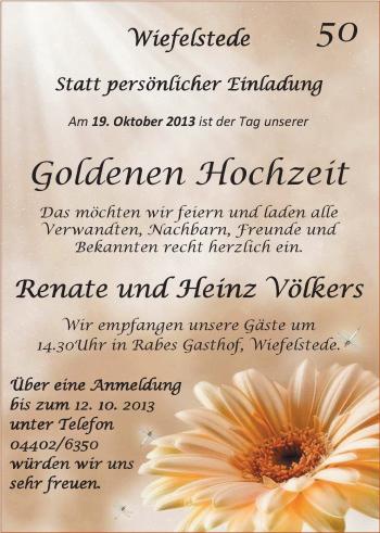 Hochzeitsanzeige von Renate Völkers von Nordwest-Zeitung
