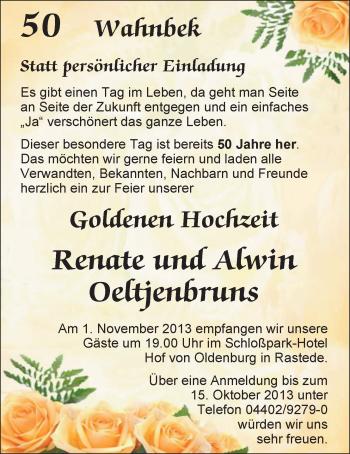 Hochzeitsanzeige von Renate Oeltjenbruns von Nordwest-Zeitung