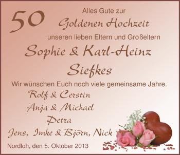 Hochzeitsanzeige von Sophie Siefkes von Nordwest-Zeitung
