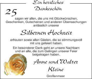 Hochzeitsanzeige von Anne Kleine von Nordwest-Zeitung