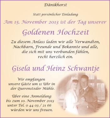 Hochzeitsanzeige von Gisela Schwantje von Nordwest-Zeitung
