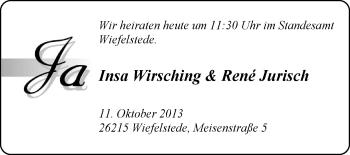 Hochzeitsanzeige von Insa Wirsching von Nordwest-Zeitung