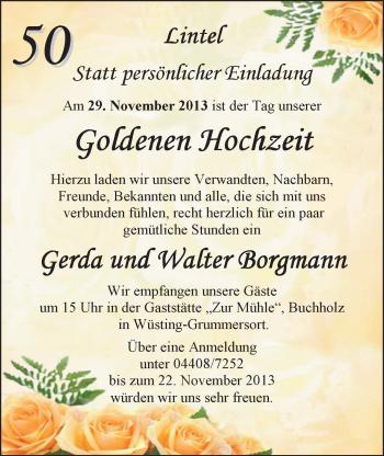 Hochzeitsanzeige von Gerda Borgmann von Nordwest-Zeitung