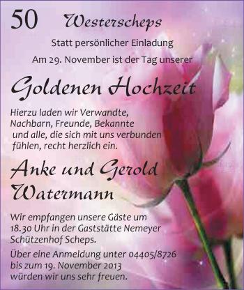 Hochzeitsanzeige von Anke Watermann von Nordwest-Zeitung