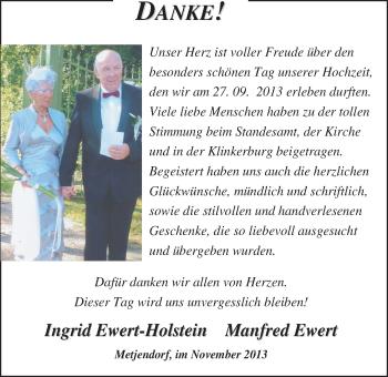 Hochzeitsanzeige von Ingrid Ewert von Nordwest-Zeitung