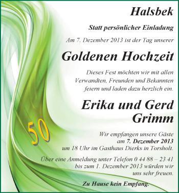 Hochzeitsanzeige von Erika Grimm von Nordwest-Zeitung
