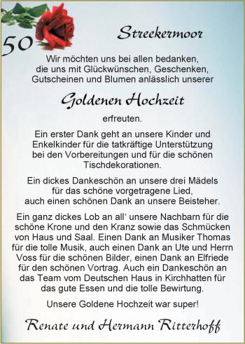 Hochzeitsanzeige von Renate Ritterhoff von Nordwest-Zeitung