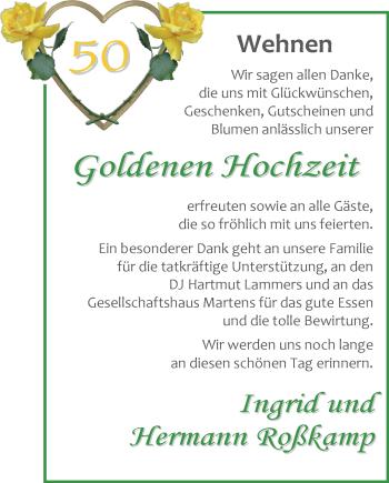 Hochzeitsanzeige von Ingrid Roßkamp von Nordwest-Zeitung