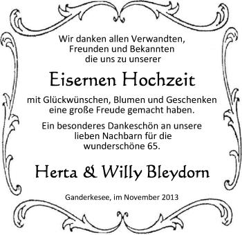 Hochzeitsanzeige von Bleydorn Herta von Nordwest-Zeitung
