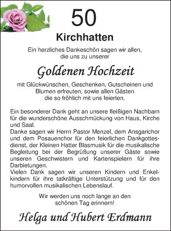 Hochzeitsanzeige von Helga Erdmann von Nordwest-Zeitung
