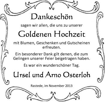 Hochzeitsanzeige von Uschi Osterloh von Nordwest-Zeitung