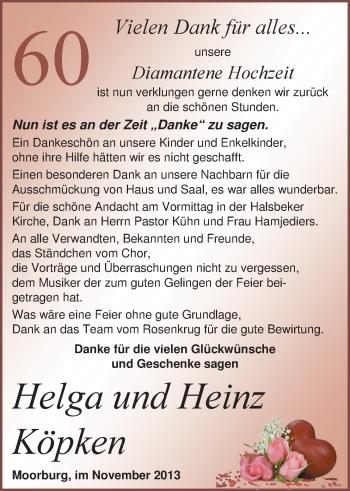 Hochzeitsanzeige von Helga Köpken von Nordwest-Zeitung