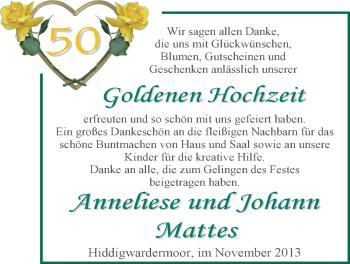 Hochzeitsanzeige von Anneliese Mattes von Nordwest-Zeitung