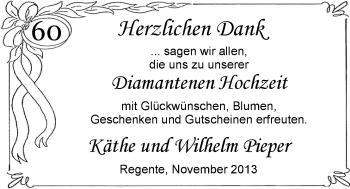 Hochzeitsanzeige von Käthe Pieper von Nordwest-Zeitung