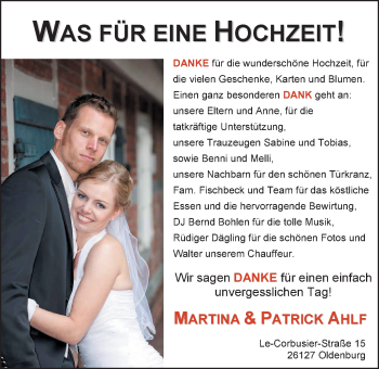 Hochzeitsanzeige von Martina Ahlfs von Nordwest-Zeitung