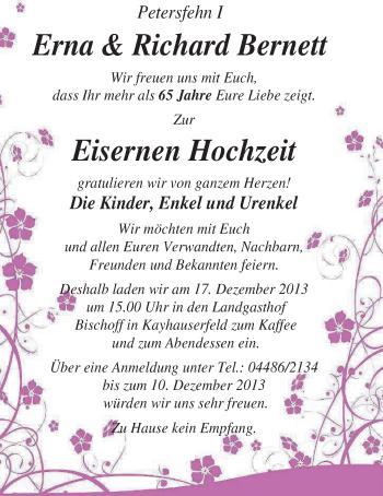 Hochzeitsanzeige von Erna Bernett von Nordwest-Zeitung